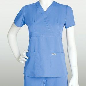 Grey's Anatomy by Barco Ceil Blue Pocket Scrub Top